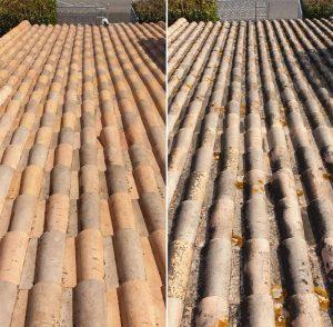 Nettoyage de tuiles, avant et après